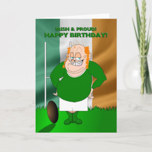 Irish And Proud Rugby Birthday Card