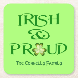 Irish and Proud Shamrock Personalized Square Paper Coaster