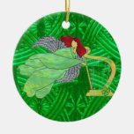 Irish Angel and Harp in Stained Glass Double-Sided Ceramic Round Christmas Ornament