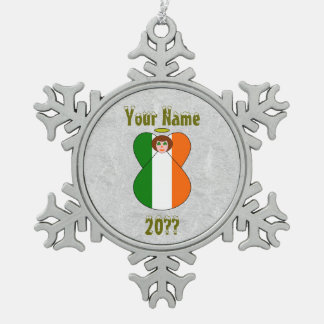 Irish Angel Flag Red Hair Shamrock Eyes Snowflake Pewter Christmas Ornament
