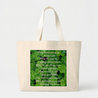 Irish Angel in Stained Glass on Clover Large Tote Bag
