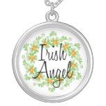 Irish Angel Shamrocks Necklace