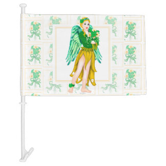 IRISH ANGEL ST-PATRICK CARTOON Car Flag