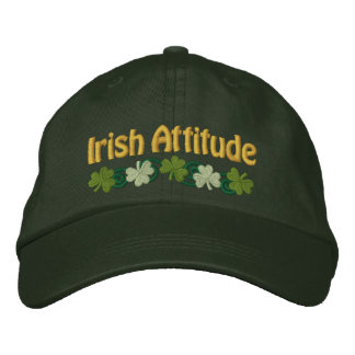 Irish Attitude and Shamrocks Embroidered Hat