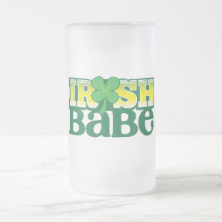 IRISH BABE! cute with a shamrock Frosted Glass Beer Mug