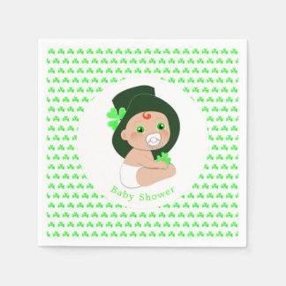Irish Baby Leprechaun Lucky Shamrock Baby Shower Disposable Serviette