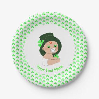 Irish Baby Leprechaun Lucky Shamrock Baby Shower Paper Plate
