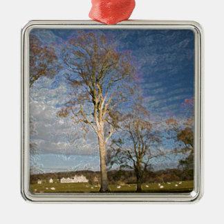 Irish Beech Trees Silver-Colored Square Decoration