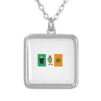 Irish Beer Leprechaun Clover Flag Cartoon Square Pendant Necklace