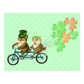 Irish bicyсle owls with clover baloons postcards