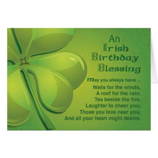 Irish Birthday Blessings, Green Celtic Shamrock Card