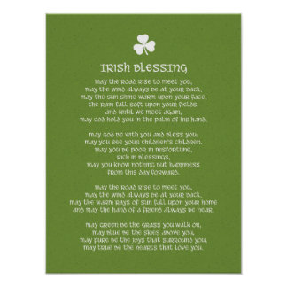 Irish Blessing and Shamrock Poster