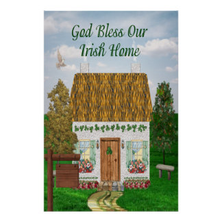 Irish Blessing Cottage Poster