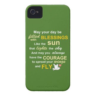 Irish Blessing for Courage - Typography in green iPhone 4 Case-Mate Cases