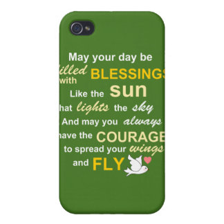 Irish Blessing for Courage - Typography in Green Covers For iPhone 4