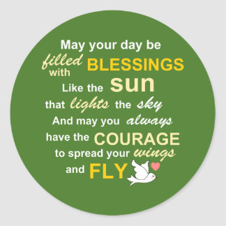 Irish Blessing for Courage - Typography in Green Round Sticker