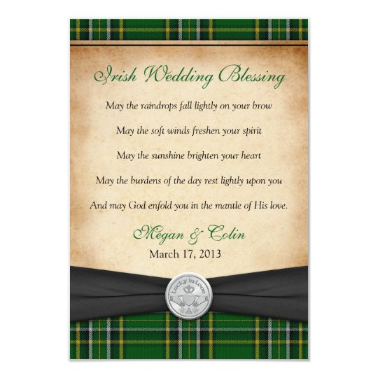 Irish Blessing Tartan Claddagh Lucky Wedding Card