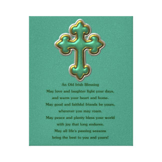 Irish blessing with shamrock St. Patrick's Day Stretched Canvas Prints