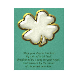 Irish blessing with shamrock St. Patrick's Day Gallery Wrapped Canvas