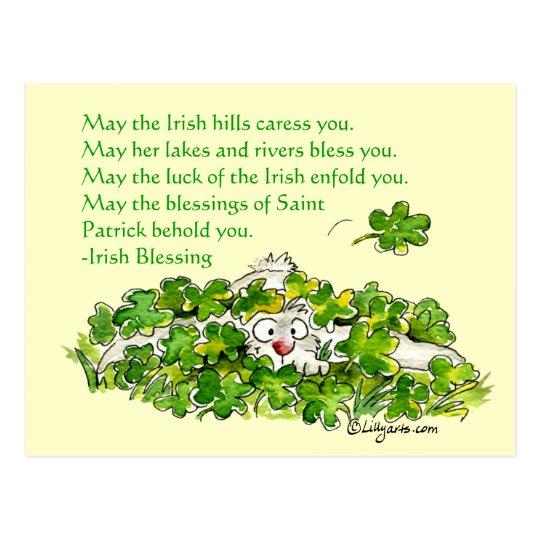 Irish Blessings Cartoon Rabbit Shamrocks Postcard