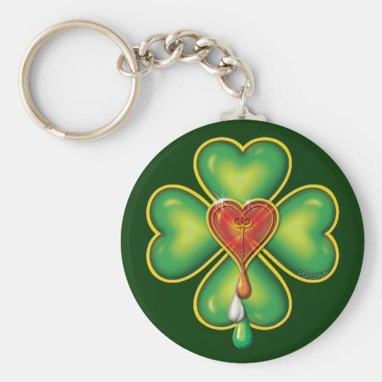 IRISH BLOOD * IRISH HEART BASIC ROUND BUTTON KEY RING