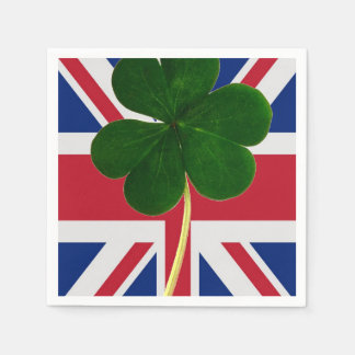 Irish British Flag Shamrock Clover St. Patrick UK Disposable Serviette