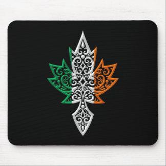 Irish Canadian Maple Leaf - black Mouse Pad