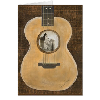 Irish Castle Acoustic Guitar Note Card