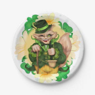 "IRISH CAT 2 ST-PATRICK CARTOON  Paper Plates 7"""