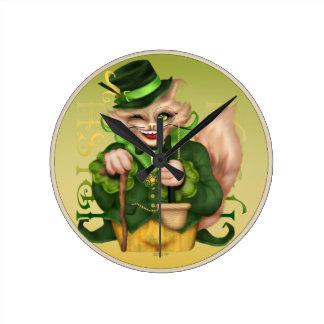 IRISH CAT ST-PATRICK Round (Medium) CLOCK