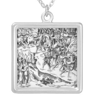 Irish Cattle Raid on an English Plantation Silver Plated Necklace