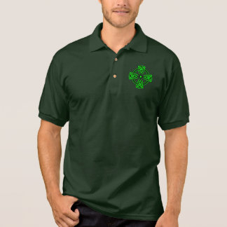 Irish Celtic Cross Men's Jersey Polo Shirt