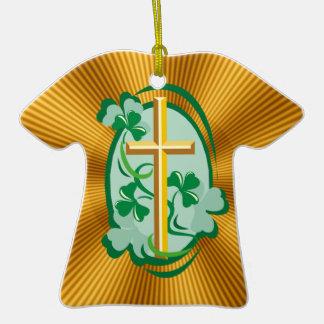Irish Christianity Double-Sided T-Shirt Ceramic Christmas Ornament