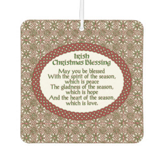 Irish Christmas Blessing, Red Green Celtic Holiday Car Air Freshener
