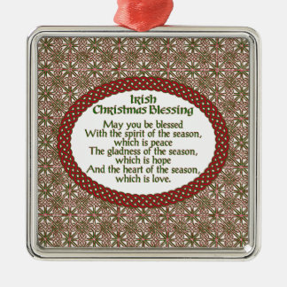 Irish Christmas Blessing, Red Green Celtic Holiday Christmas Ornament