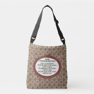 Irish Christmas Blessing, Red Green Celtic Holiday Crossbody Bag