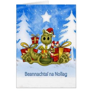 Irish Christmas Card - Cute Dragon - Beannachtaí n