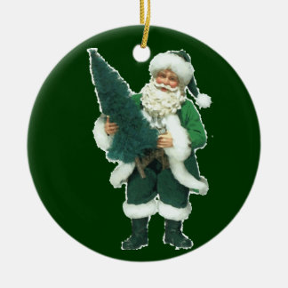 Irish Christmas Santa Claus Round Ceramic Decoration