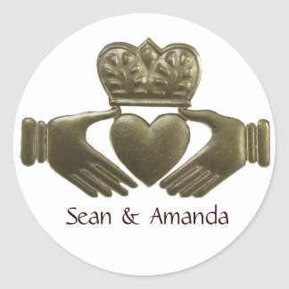 Irish Claddagh Gold Wedding Seals Round Sticker