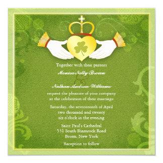 Irish Claddagh Heart Green Celtic Wedding Invites