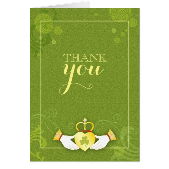 Irish Claddagh Heart Green Wedding Thank You Card