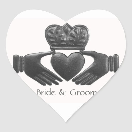 Irish Claddagh Heart shaped Love Symbol Stickers