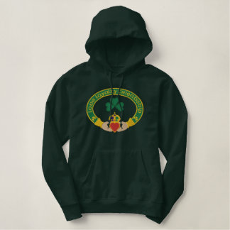 Irish Claddagh Ring Embroidered Hooded Sweatshirts