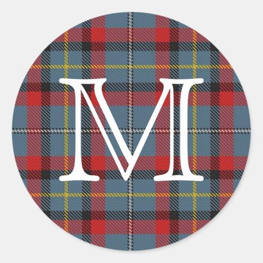 Irish Clan MacNamara Tartan With Monogram Classic Round