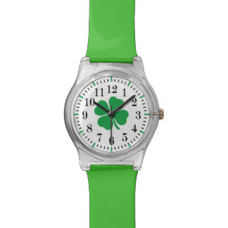 Irish Classic Style Watch with Four Leaf Clover