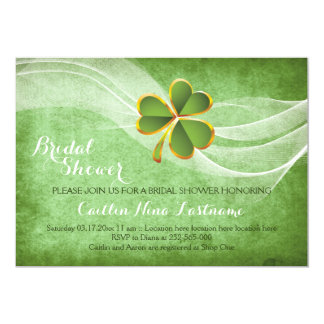 "Irish clover and veil green wedding bridal shower 5"" x 7"" invitation card"