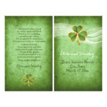 Irish clover and veil wedding green program 21.5 cm x 28 cm flyer
