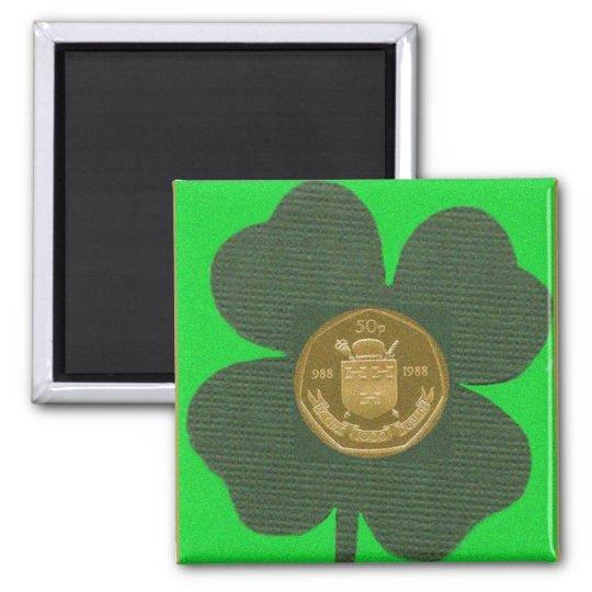 IRISH CLOVER & COIN MAGNET