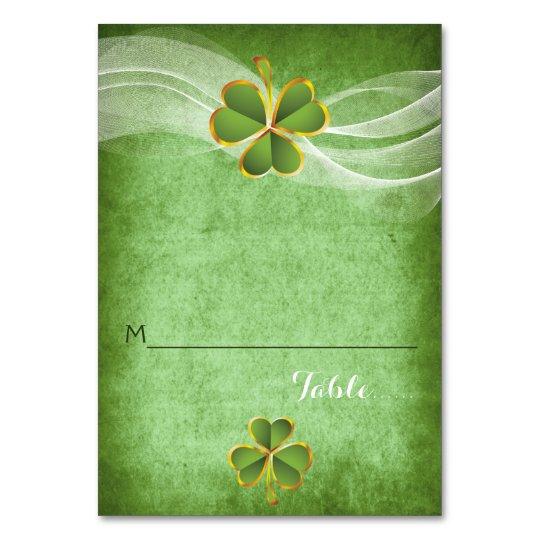 Irish clover & veil wedding folded place card