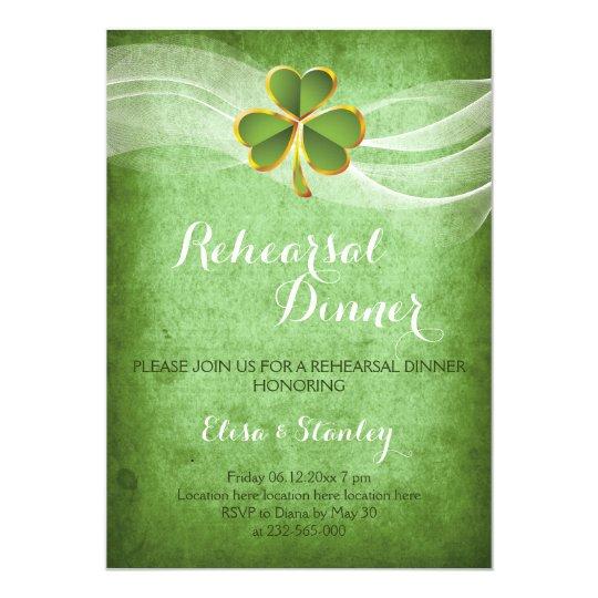 Irish clover & veil wedding rehearsal dinner card
